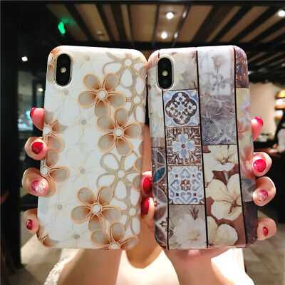 Retro Marble Flower Pattern Soft Phone Case for iphone XS Max XR 6 6s 7 8 plus