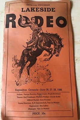 1936 Lakeside Ca Rodeo Program W/ 8+ World Champions + Hall Of Fame Members