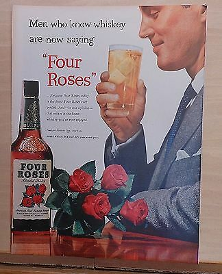1953 magazine ad for Four Roses Whiskey - Men Who Know Whiskey say Four Roses