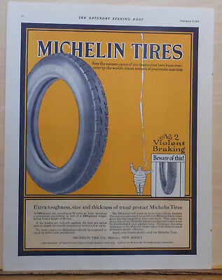 1921 magazine ad for Michelin Tires - Beware of violent braking, Michelin Man