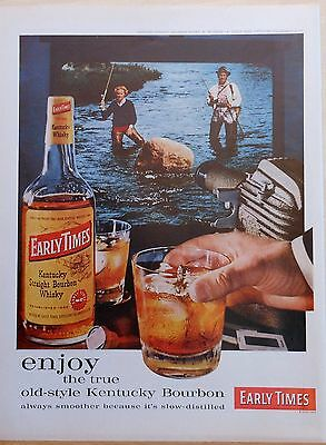 1960 magazine ad for Early Times Bourbon - colorful Fly Fishing couple photo