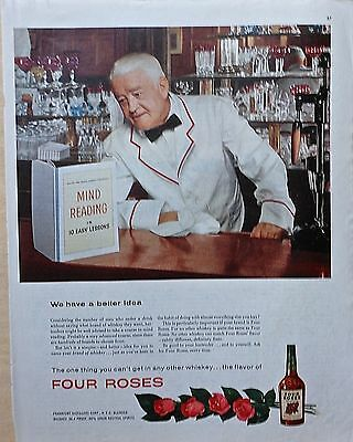 "1954 magazine ad for Four Roses Whiskey - Bartender reads ""Mind Reading"" book"