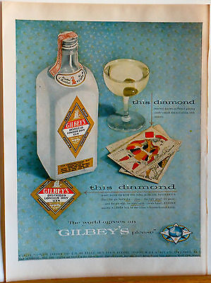 1955 magazine ad for Gilbey's Gin - Gin Bottle, martini and playing cards photo