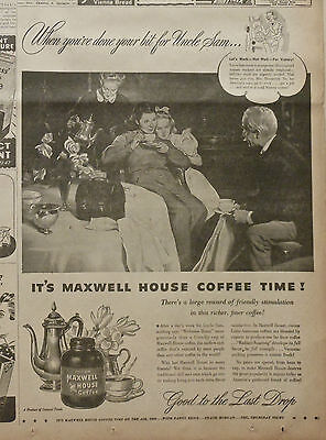 1944 newspaper ad for Maxwell House Coffee, Woman War Worker relaxes with Coffee