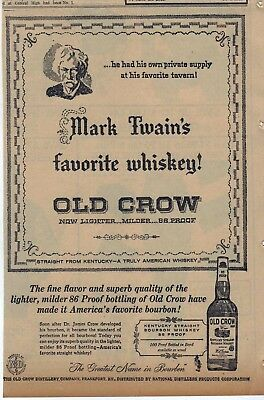 1958 newspaper ad for Old Crow Bourbon Whiskey - favorite of author Mark Twain