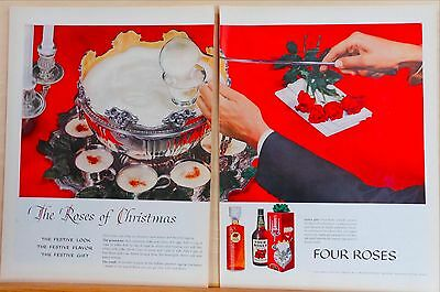 1959 two page magazine ad for Four Roses Whiskey - colorful, Egg Nog recipe