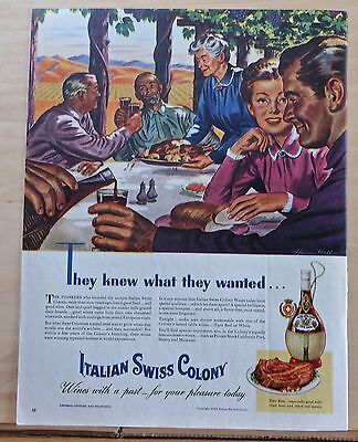 1945 magazine ad for Italian Swiss Colony Wine - Tipo Red, table at vineyard