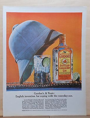 1969 magazine ad for Gordon's Gin - English invention, gin & tonic, noonday sun