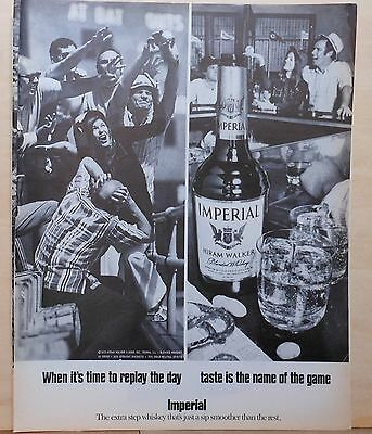 1971 magazine ad for Imperial Whiskey - After baseball game, Time to replay day