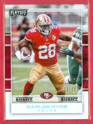 2017 PLAYOFF (FB) Carlos Hyde SP KICKOFF PARALLEL Card (#79) #'ed 104/299 49ers