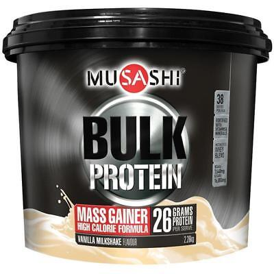 MUSASHI PROTEIN POWDER BULK MASS GAINER VANILLA MILKSHAKE 2.2kg SUPPLEMENT GYM