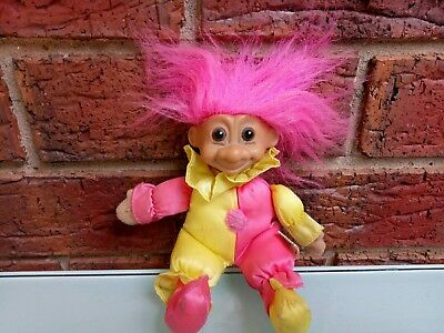 Vintage Russ Troll Doll Toy Figure Pink Yellow Outfit