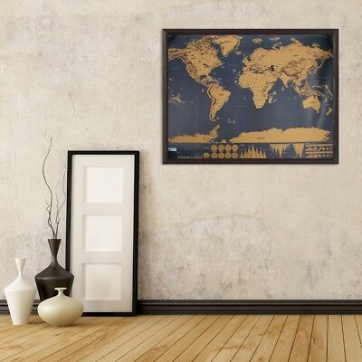 Deluxe Scratchable World Map Learn Large Travel Wall Poster Decor 82 x59 cm AU