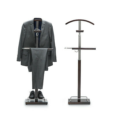 Dark Timber Wood Steel Hanger Clothes Coat Hat Bag Suit Trousers Valet Stand