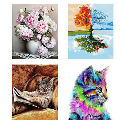 DIY Canvas Digital Oil Painting Kit Paint by Numbers No Frame Home Wall Decor