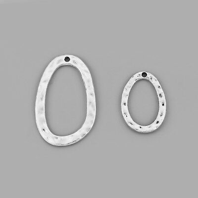 20pcs Antique Silver Annulus Hammered Loopy Charms Pendants DIY Jewellery Making