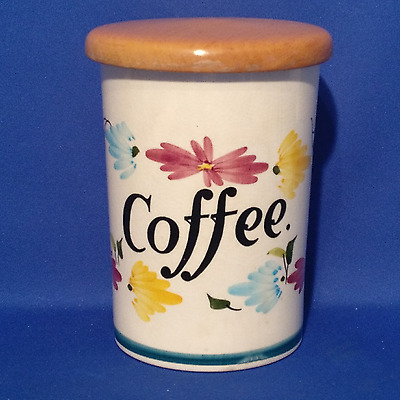 "Toni Raymond Coffee Jar with Wooden Lid (7"" tall) - Vintage 1950s"