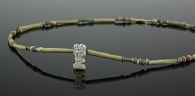 Beautiful Ancient Egyptian New Kingdom Faience Bead & Amulet Necklace (103)