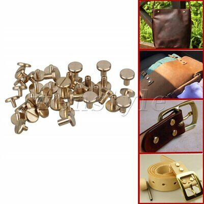 20P Brass Nail Rivets Flat Chicago Screws 10x4x6mm for Belt Wallet Leather Craft