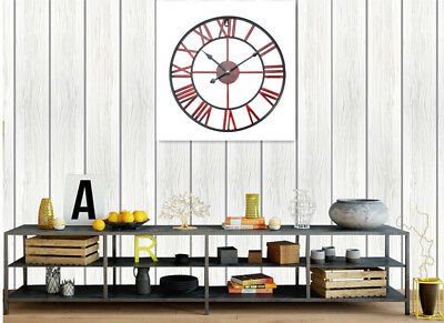 Classic Metal Round Wall Clock Antique Rustic Vintage Roman Numerals Home Decor