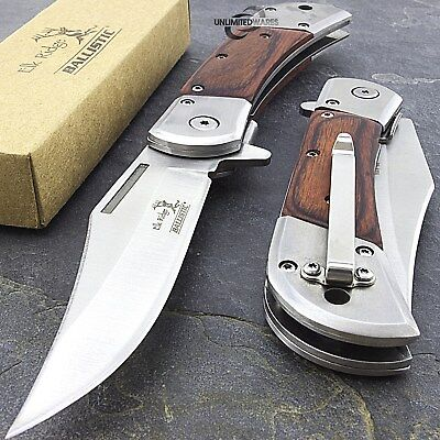 "8.5"" ELK RIDGE WOOD SPRING ASSISTED FOLDING POCKET KNIFE Open Assist EDC Blade"