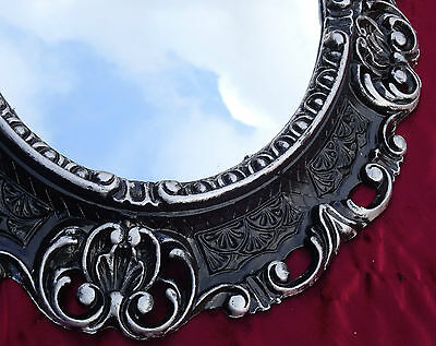 Wall Mirror Black/Silver Oval 45x38 Baroque Antique Repro Vintage 345 Sp
