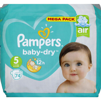 Mega Pack 74 Couches Pampers baby-dry Taille 5 de 11 à 16 kg