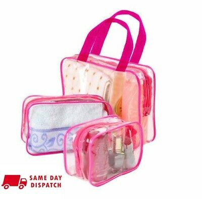 3 pics Waterproof Cosmetic Makeup Clear Wash Bag PVC Toiletry Holder Pouch Kit