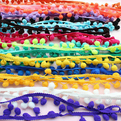 1M Ball Pom Pom Bobble Trim Braid Fringe Ribbon Edging Craft Decoration Elegant;