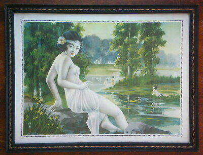 Art Deco Chinese Lithograph by Hang Zhiying, Girl Poster, Original Frame
