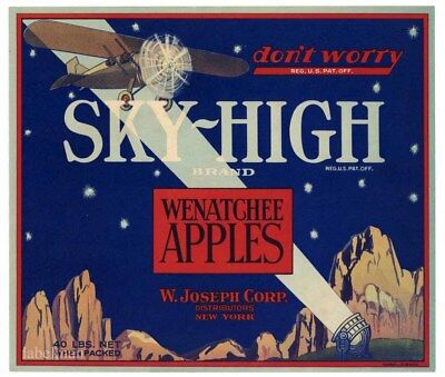 SKY-HIGH Brand, Airplane **AN ORIGINAL APPLE CRATE LABEL** 119, no boxes on end