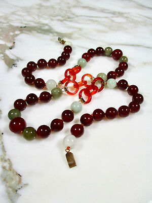 Antique Chinese Green Jade Orange Carnelain Devil's Work Rings Beaded Necklace