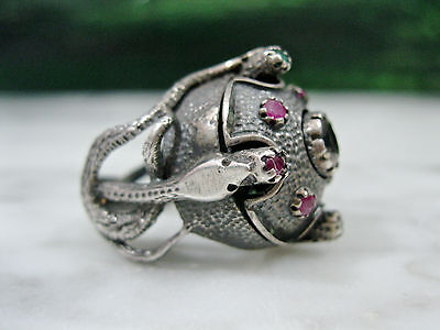 Antique Italian Etruscan Revival Sterling Snake Ruby Emerald Topaz Princess Ring