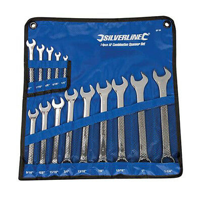 "Silverline Imperial/AF/English/SAE Combination Spanner Set 1/4"" to 1 1/4"" 14 Pc"