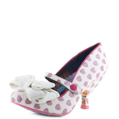 Womens Irregular Choice Love Is In The Air White Multi Pink Heart Shoes Size