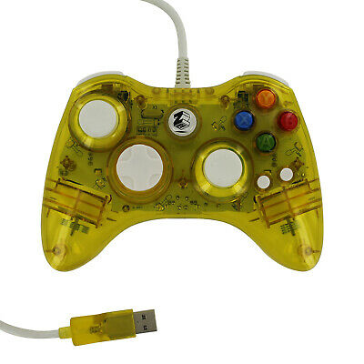 Controller for Xbox 360 wired USB colour glow virbtation ZedLabz – Yellow