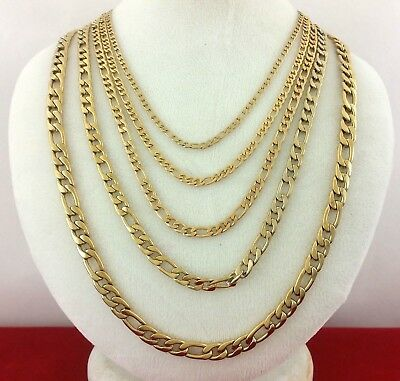 10k Gold Clad Stainless Steel 316L Figaro Link Rope Chain Choker Necklace