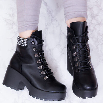 661d2944be20c SPYLOVEBUY MAGPIE LACE Up Block Heel Ankle Boots Shoes SZ 3-8 ...