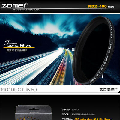 ZOMEI 49/52/55/58/62/67/72/77/mm ND2-400 Fader Adjustable Variable Filter DSLR