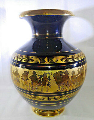 "Deep Cobalt Blue 24k Gold Hand Made Greece Spyropoulos 11"" Vase Greek Culture"