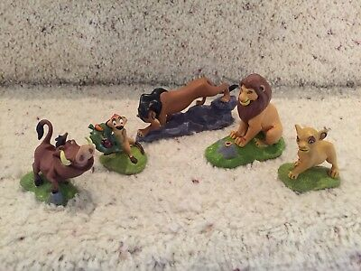 The Lion King Plastic Figures Lot of 5 Simba Scar Pumbaa Timon Cake Toppers