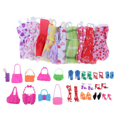 Lot 30 Items For Doll Dresses, Shoes, Bags Clothes Set Accessories