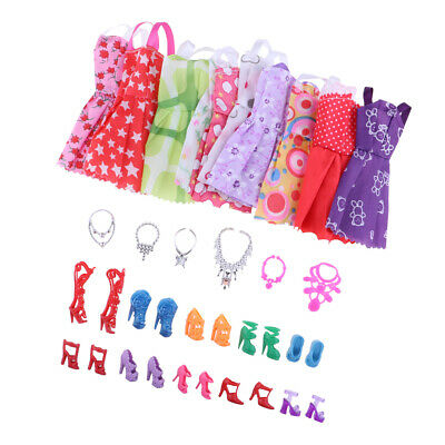26 Items For Doll Dresses, Shoes, Necklaces Clothes Set Accessories