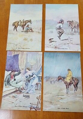 Set Of Four Charles Russell 5 X 7 Unframed Prints - Never Used