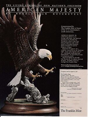1987 Franklin Mint American Majesty Bald Eagle magazine ad Great to frame!