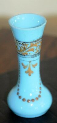 Blue Turquoise Opaline Milk Glass Vases hand Decorated