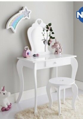 New Childrens Wooden WHITE Amelia Vanity Set/ Dressing Table With Mirror/Stool