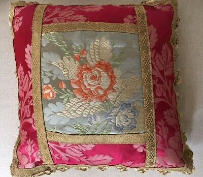 Antique French Silk Damask Brocade Fabric Throw Pillow Red Blue Gold Trim