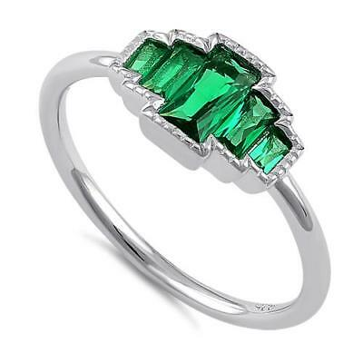 Melchior Jewellery Sterling Silver Five Radiant Cut Emerald CZ Ring Gift Boxed