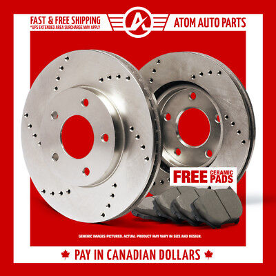 2014 2015 Fits Kia Forte5 EX (Cross Drilled) Rotors & Ceramic Pads Front